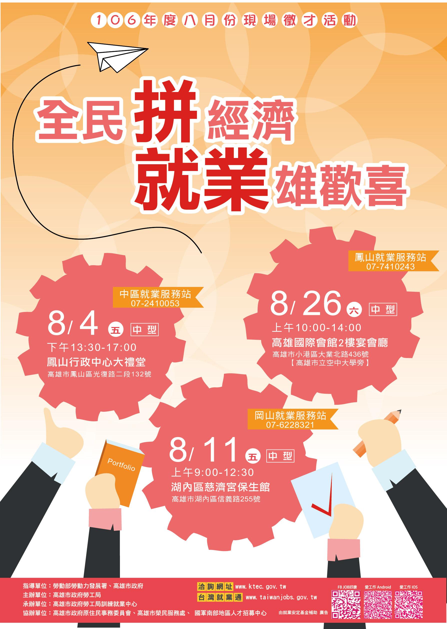 勞工局訓就中心「全民拼經濟 就業雄歡喜」8月份中型現場徵才活動