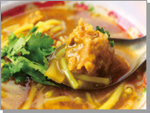 curry tuna rice noodle in thick soup