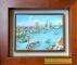 鼓山區贈送高雄哈瑪星港口意象之版畫描繪船舶出入港意象