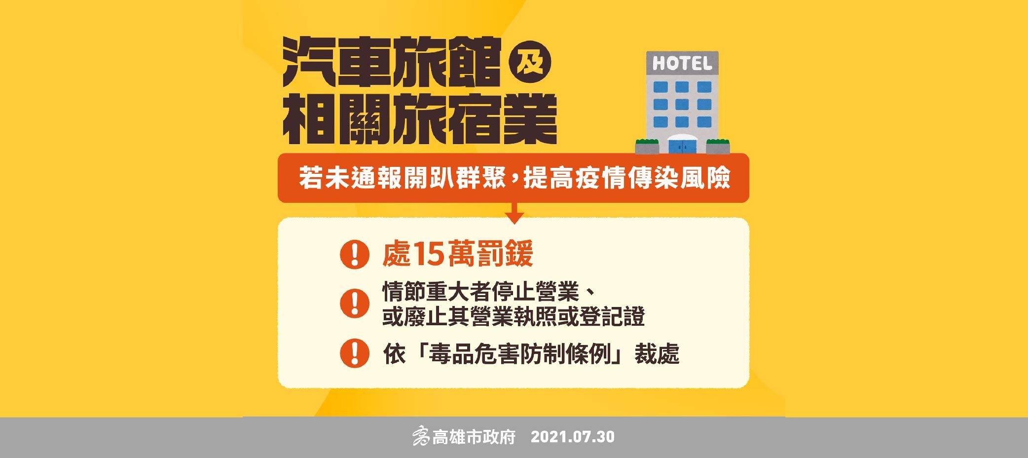 汽車旅館及相關旅宿業 群聚旅宿開趴未通報可開罰