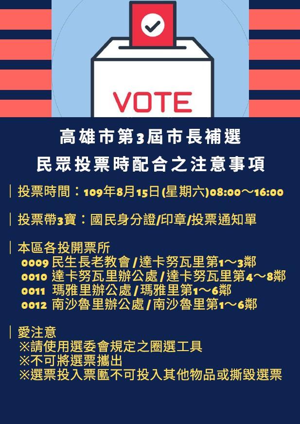 🔰高雄市第3屆市長補選投票注意事項