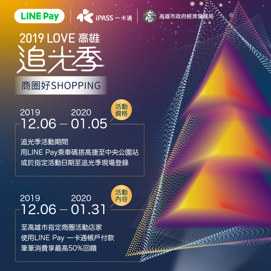 LOVE高雄追光季X商圈好SHOPPING LINE POINTS百萬點數大方送 商圈消費享最高50%回饋
