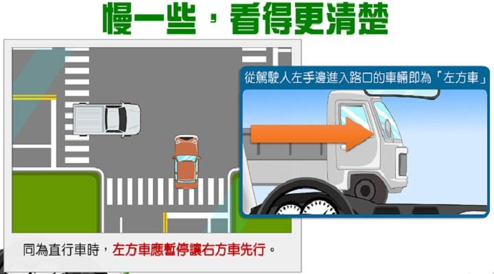 交通宣導-左方車讓右方車