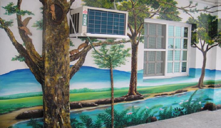 大樹與浮雕風景壁畫