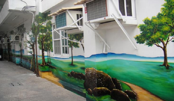 辦公室外牆製作大型立體浮雕風景壁畫