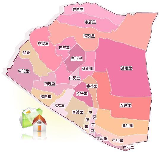 林園區行政區總圖內共有24個里