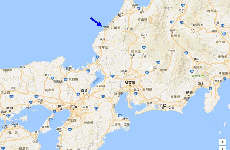 日本加賀市位置