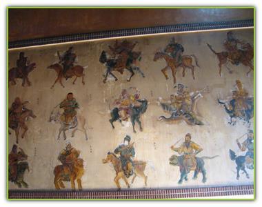 保元宮後方牆上的卅六官眾畫像,活潑生動。
