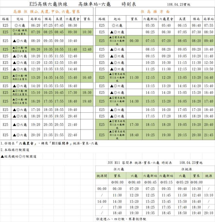 高雄車站往返六龜客運時刻表