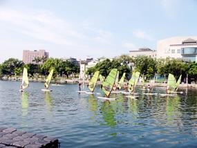 初學風浪板在平靜的水域較容易上手