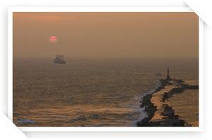旗津海水浴場外海夕陽照